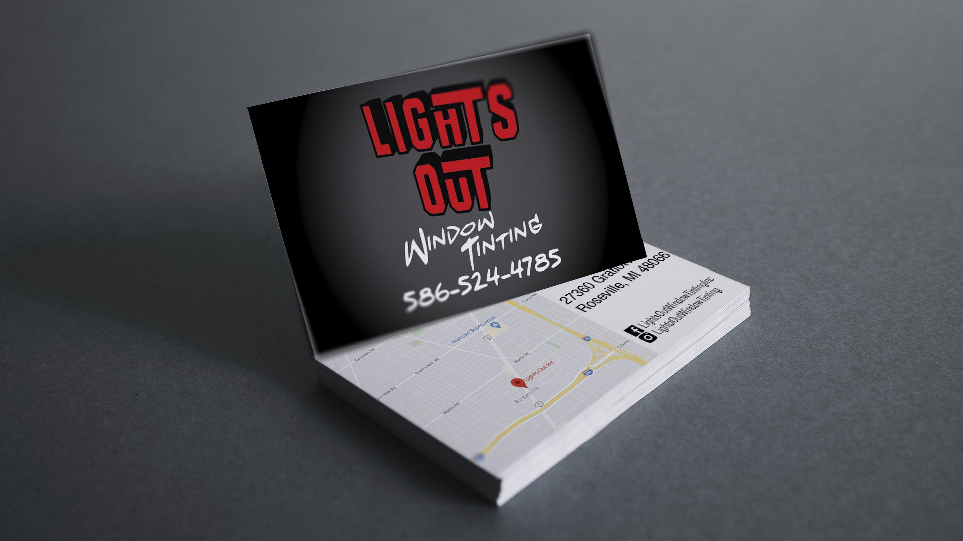 Lights Out Window Tinting - Business Card Mockup V1