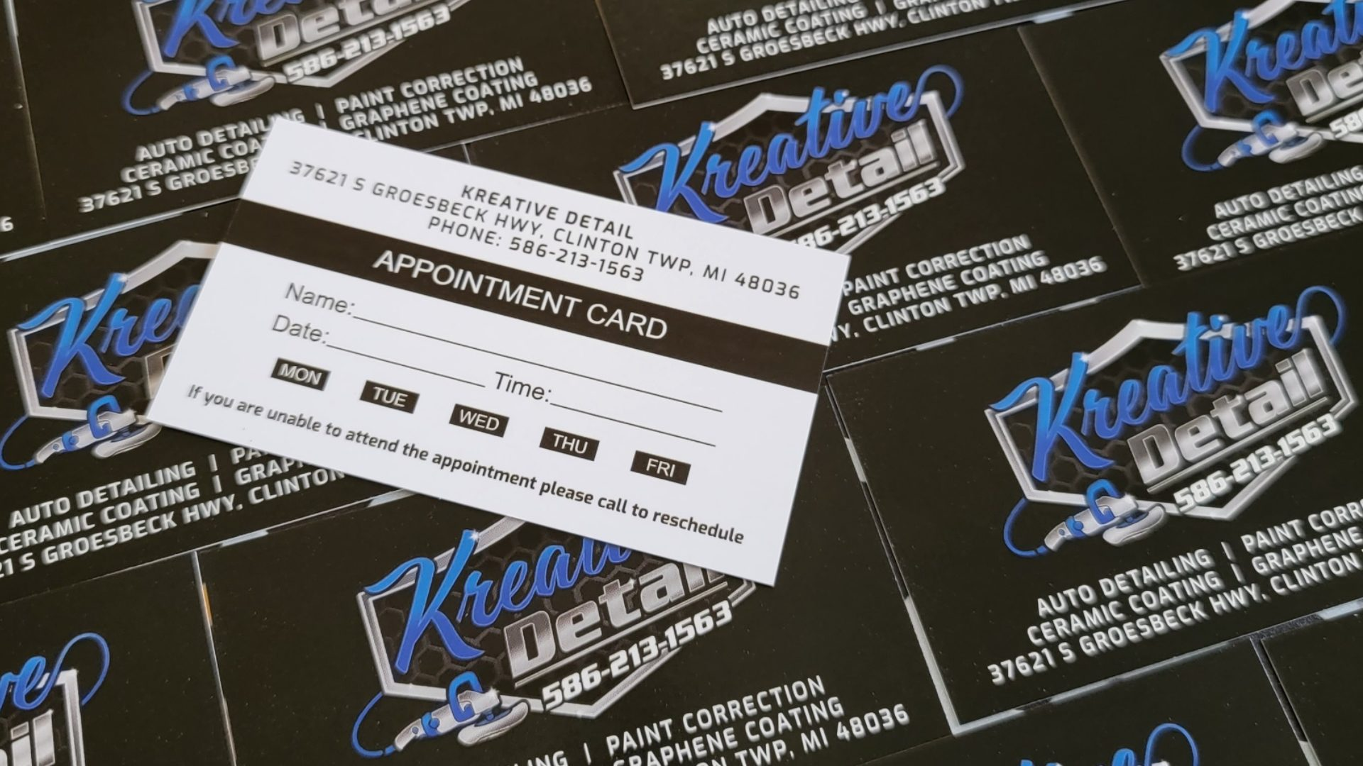 Auto Detailing Appointment Cards 1
